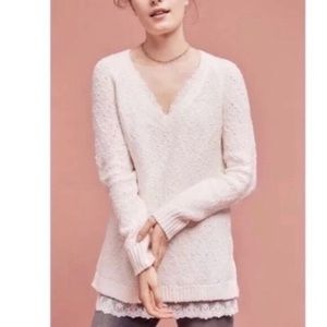 Anthropologie knitted & knotted cream sweater